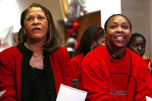 Cappie Pondexter, right, played with C. Vivian Stringer at Rutgers from 2002-06.