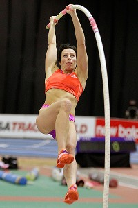 Jenn Suhr played basketball in college and has gone on to become one of the best pole vaulters in the world.