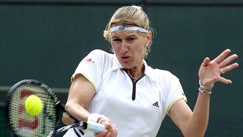 Steffi Graf's fearsome forehand helped her win 22 career Grand Slam titles, second only to Margaret Court.