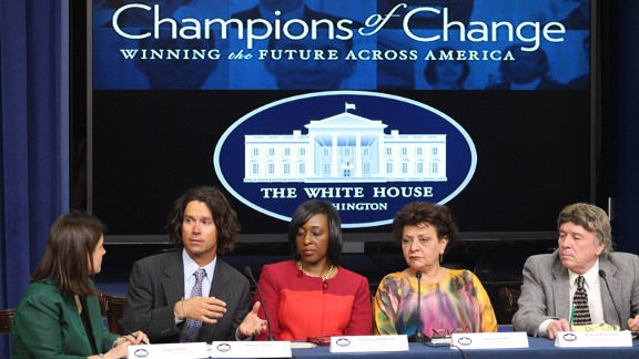 A Champion of Change is an honor given by the White House to 12 citizens, businesses, and community leaders who are working to prepare their communities for the consequences of climate change.