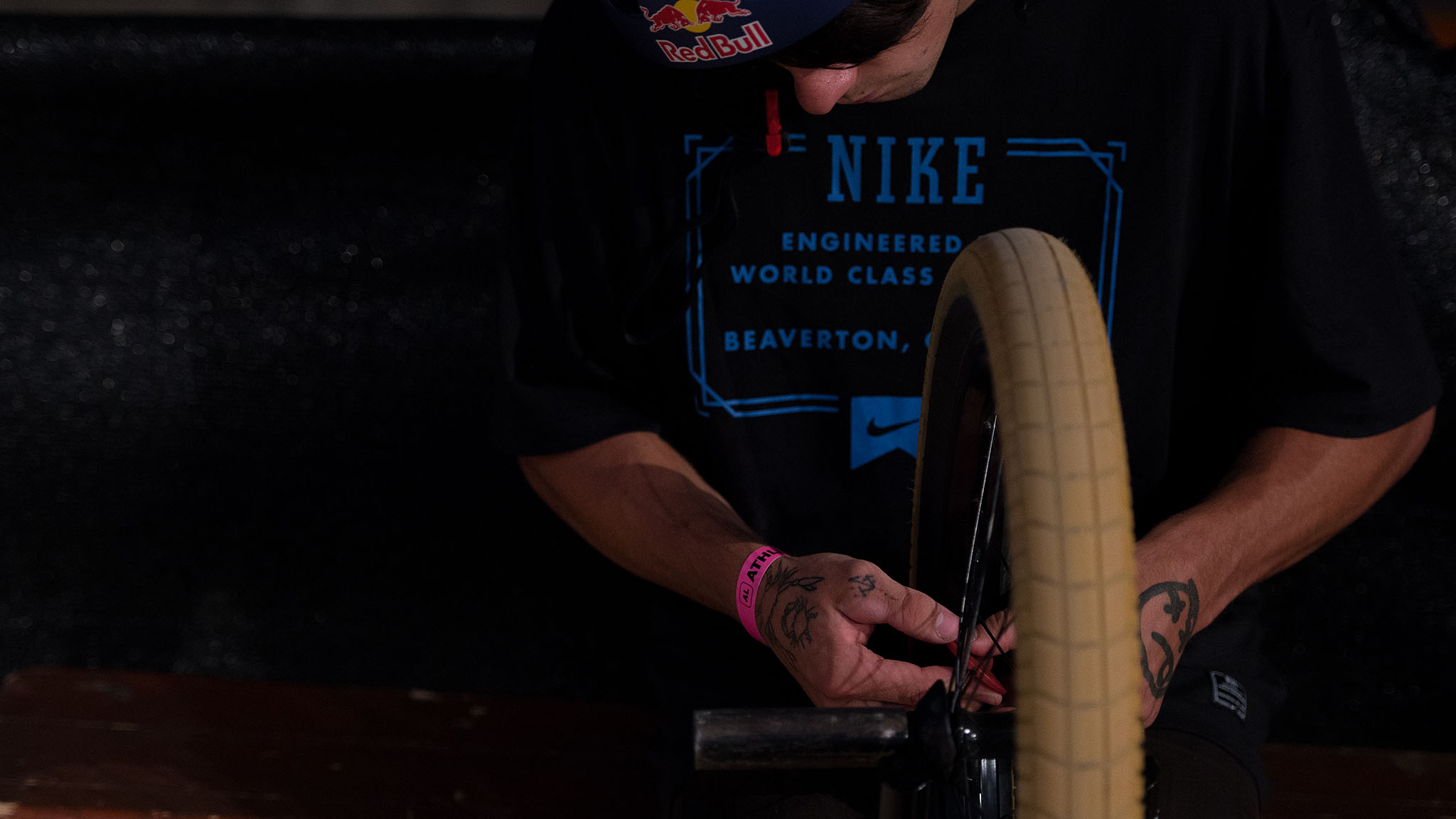 Glasgow, Scotland's Kriss Kyle lives inside one of the few indoor skateparks in Scotland and has a perfect BMX bowl to ride right outside of his bedroom. Kyle was invited to X Games Munich to compete in BMX Park, and between bike-maintenance sessions he was able to decipher original park lines in preparation for Saturday's competition.