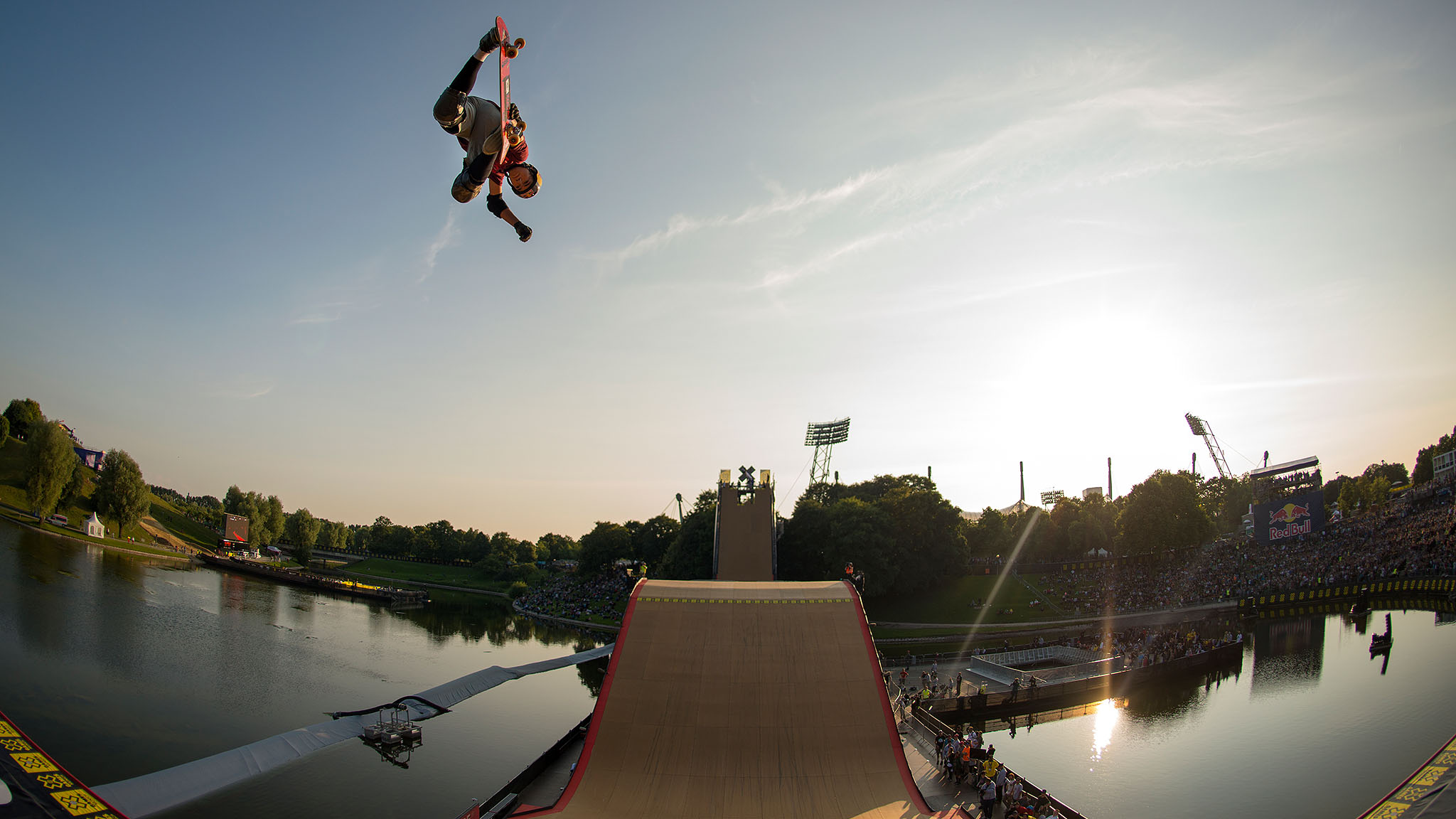 Alex Sorgente blasts a sky-high method air during X Games Munich Skateboard Big Air Sunday.