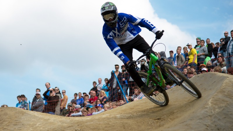 Brett Rheeder's big second run was enough to win gold in Mountain Bike Slopestyle.