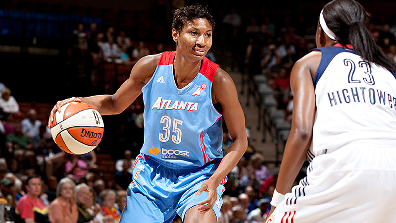 Angel McCoughtry loves that being a WNBA player gives her the chance to give back.