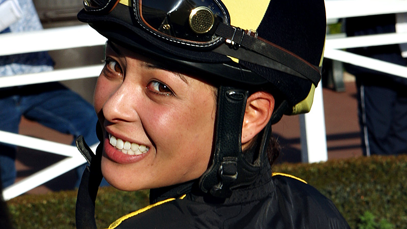Jockey Kayla Stra returned to the racing circuit in January after taking time off for the birth of her son, Brys.