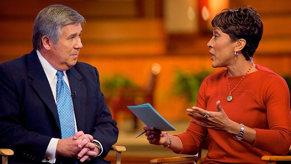 Bob Ley, left, and ABC's Good Morning America co-host Robin Roberts discuss the image of the black athlete in 2011 at Ebenezer Baptist Church in Atlanta, Ga.