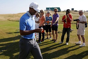 The interest in golf rises when Tiger Woods is near the lead in, or winning, majors.