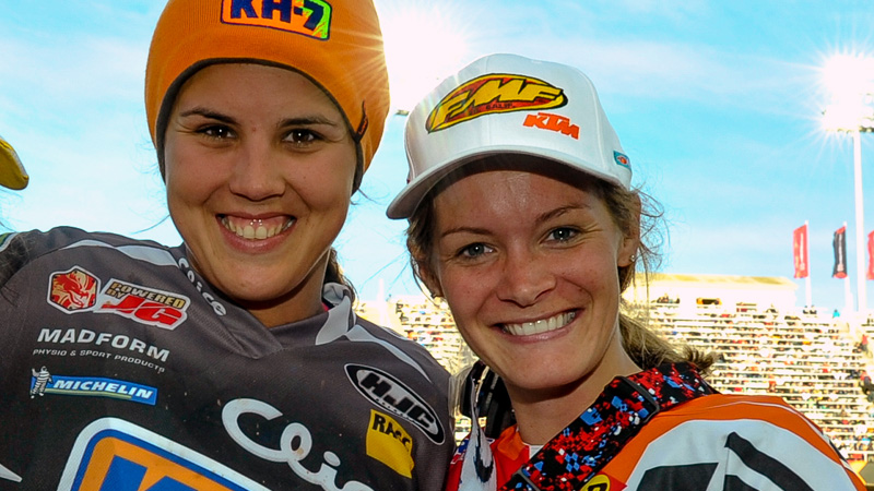 Laia Sanz, left, and Maria Forsberg are tough competitors at the top of their sport, but mutual respect allows them to be friendly after races.
