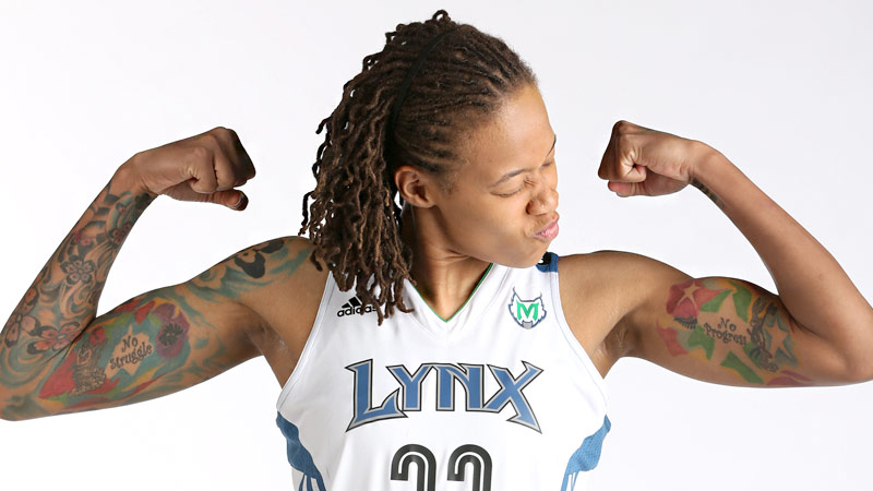 Seimone Augustus focuses mainly on her lower body in the weight room, but she likes what she sees in her upper body too.