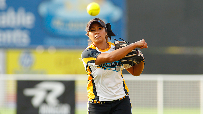 Second baseman Amanda Kamekona is one of the most productive hitters in National Pro Fastpitch. She ranks in the top 10 in home runs and slugging percentage.