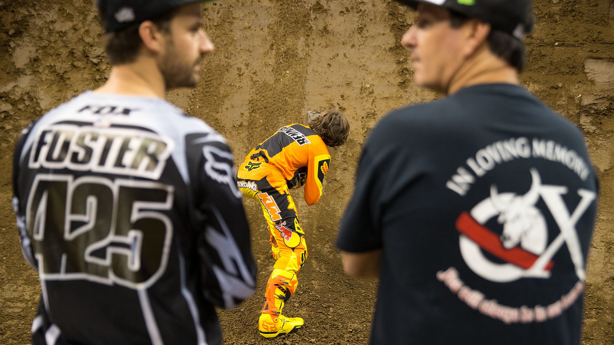 Ronnie Renner, who holds the Moto X Step Up record with his X Games L.A. 2012 gold-medal jump of 47 feet, prepares the Step Up ramp for Friday's competition.