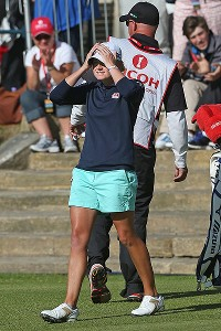 Stacy Lewis reacts after a birdie putt on the 18th hole wrapped up the Women's British Open title for the American.