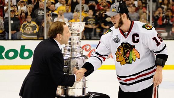 Jonathan Toews of the Chicago Blackhawks, with NHL commissioner Gary Bettman