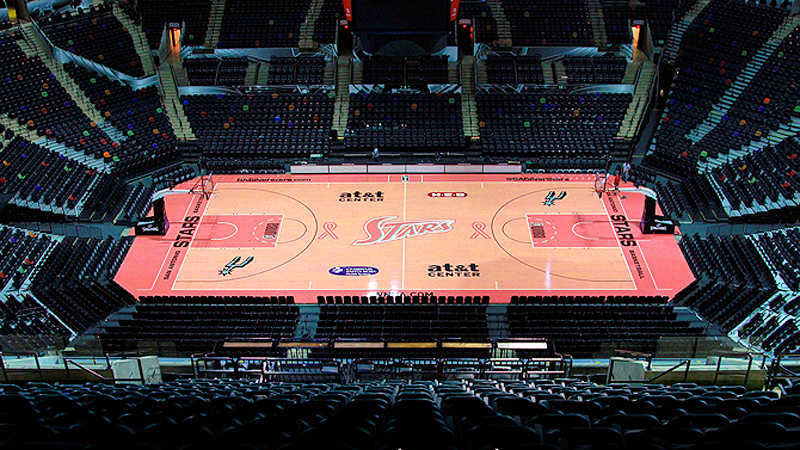 The San Antonio Silver Stars paint the court pink for their Breast Cancer Awareness game.