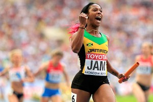 Shelly-Ann Fraser-Pryce also won her third gold medal, in the women's 4x100 relay, giving Jamaica a sweep of the six sprint events at the world championships.