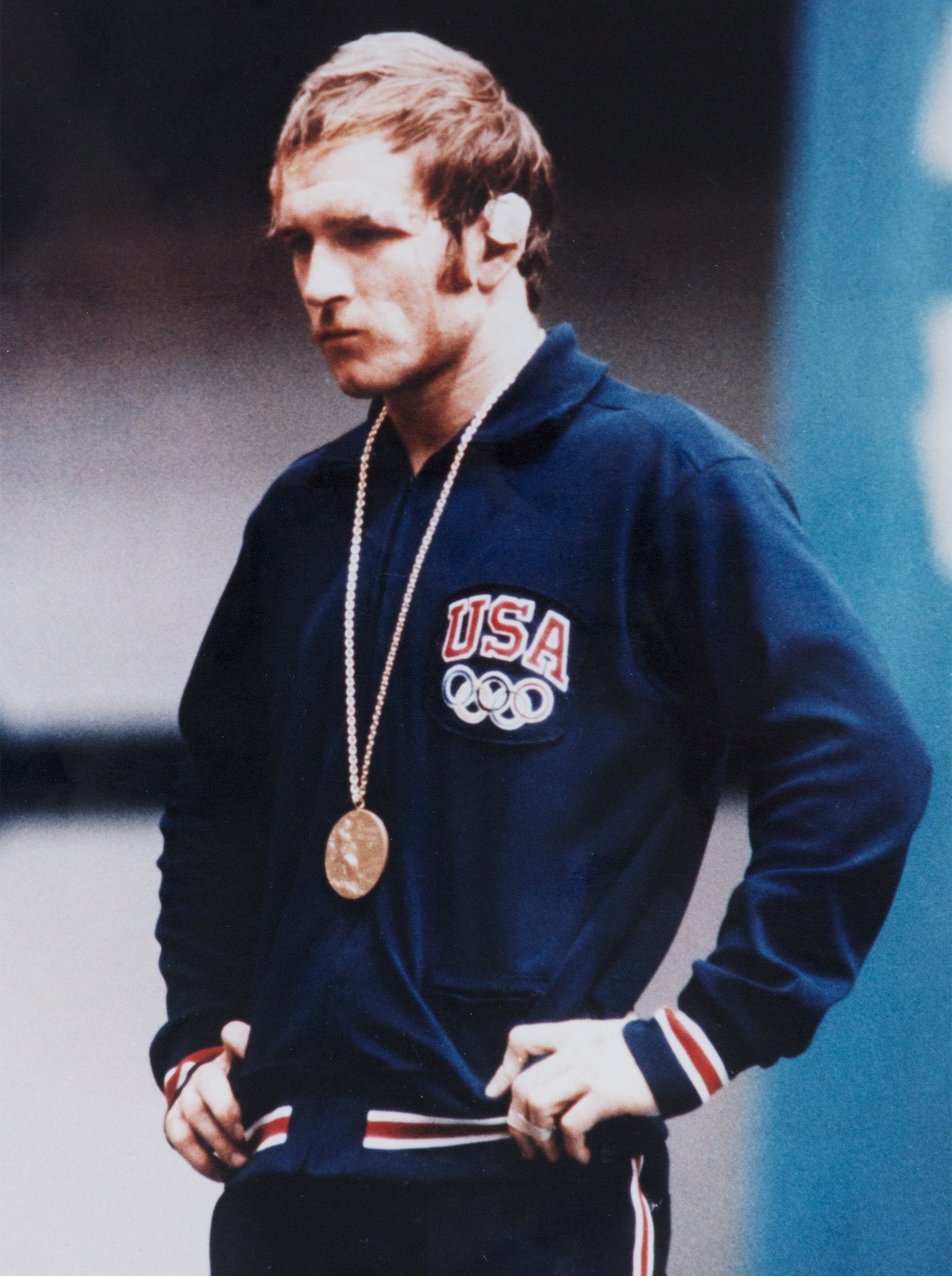 Dan Gable on the medal stand at the 1972 Olympics in Munich