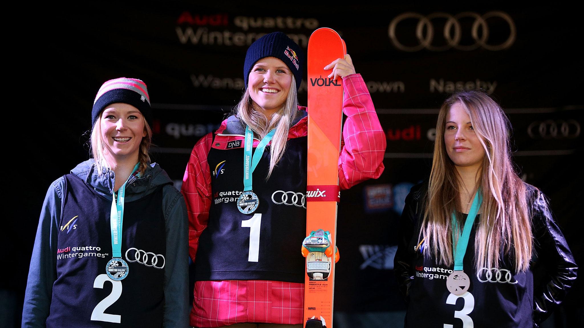 The women's ski slopestyle podium, from left: Dara Howell (second), Tiril Sjstad Christiansen (first), Lisa Zimmermann (third).