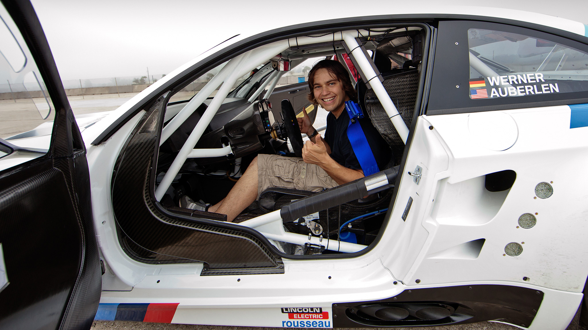 Chris Tedesco inside the BMW M3 GT race car, which won back-to-back American Le Mans GT Manufacturer and Team titles in 2010 and 2011. Unfortunately, he says, they wouldn't let me drive it.