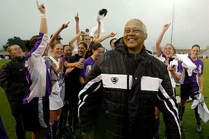 Clive Charles coached both the men's and women's soccer teams at Portland, and led the women to the national title in 2002.