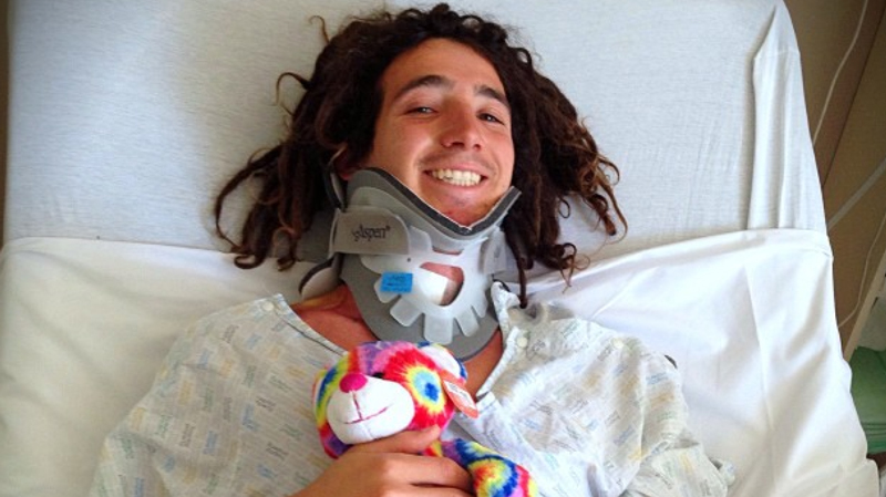 Luke Mitrani's brother Jack posted this photo of Luke smiling in the hospital on Instagram Monday.