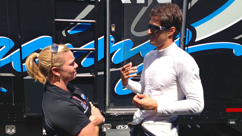Sarah Fisher talks strategy with Lucas Luhr, who ran his first IndyCar race for her team and finished 22nd in the GoPro Grand Prix at Sonoma Raceway.