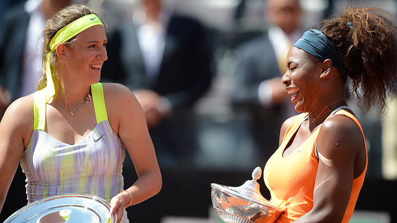Sharing a laugh at the Internazionali BNL d'Italia trophy ceremony in Rome this May, Victoria Azarenka and Serena Williams have become the friendliest of foes.