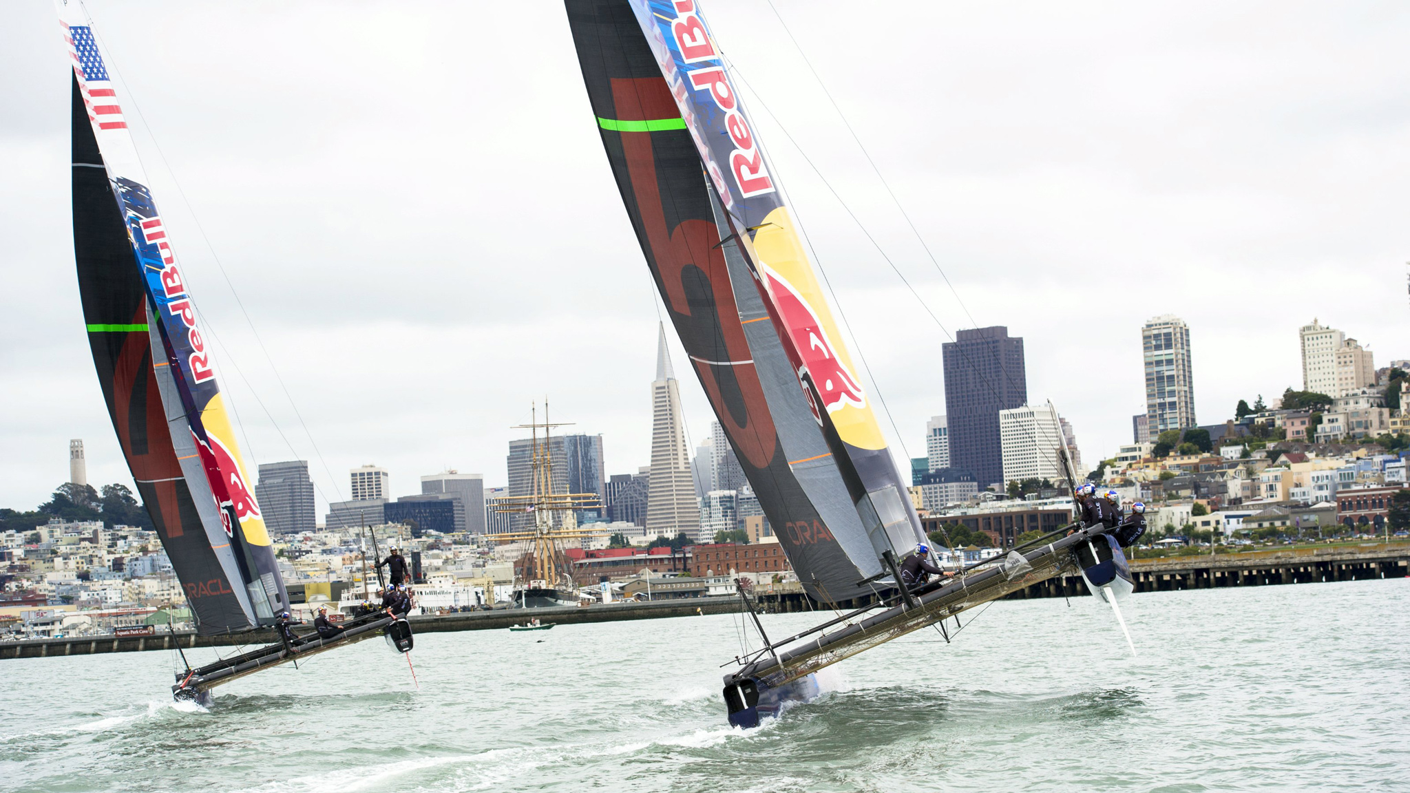 Jamie O'Brien and Travis Rice raced on AC45s, which are the 45-foot catamarans used in the America's Cup World Series events, allowing teams to get used to sailing the new boat design.