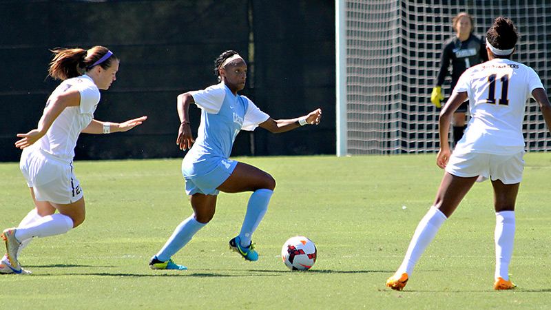 Sunday's victory against West Virginia came on the heels of a long and busy week of playing soccer for two teams and two positions for Crystal Dunn.