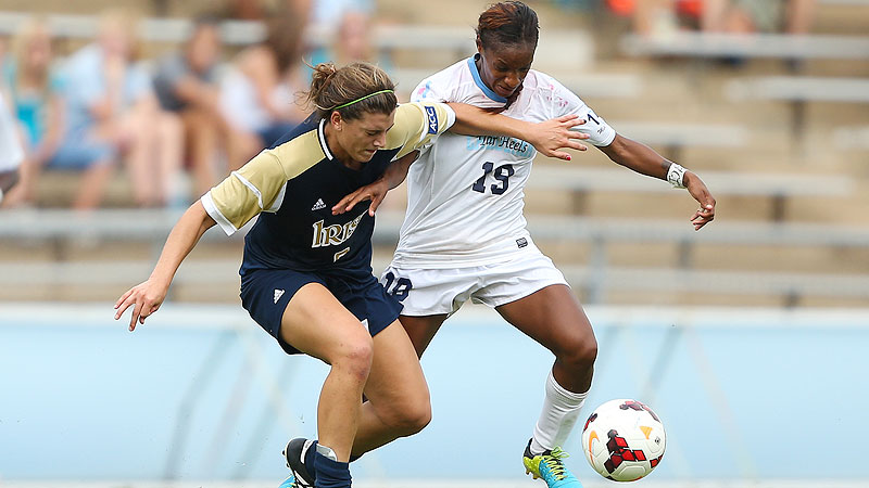 Notre Dame defender Cari Roccaro, left, was able to keep North Carolina star Crystal Dunn at bay on Sunday.