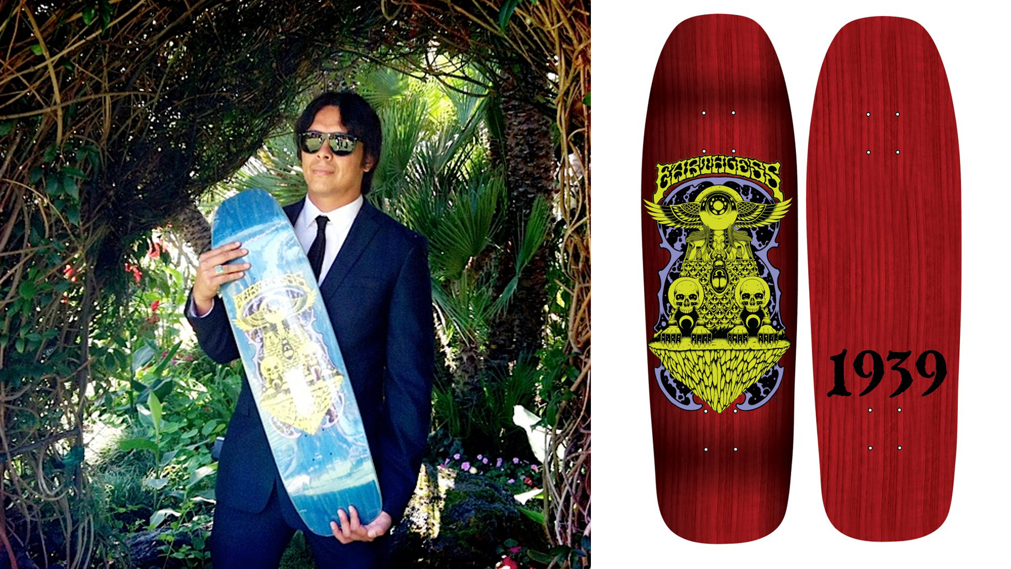 I chose this shape, as it is what I ride these days, says Earthless drummer Mario Rubalcaba while holding the board during his wedding reception.