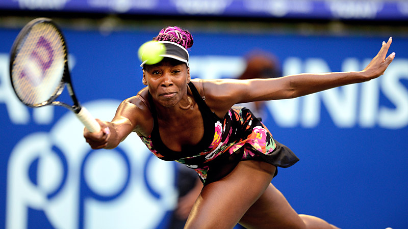 While Venus Williams prime playing days may be behind her, shes still on top of her fashion game. She proved that much at the US Open. Rocking a black dress with a multi-colored floral print that most of us would probably wear out for a night on the town with matching pink hair accents, the elder Williams sister impressed even the snottiest of New York fashion critics. (Photo: Toru Yamanaka/AFP/Getty Images)