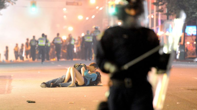 Amid the riots and turmoil in Vancouver after the Canucks lost in Game 7 of the 2011 Stanley Cup finals, a brilliant photographer captured a local couple embracing on the ground. It provided a stark contrast to the surrounding chaos and, of course, instantly went viral. At least two people in Vancouver were winners that night.