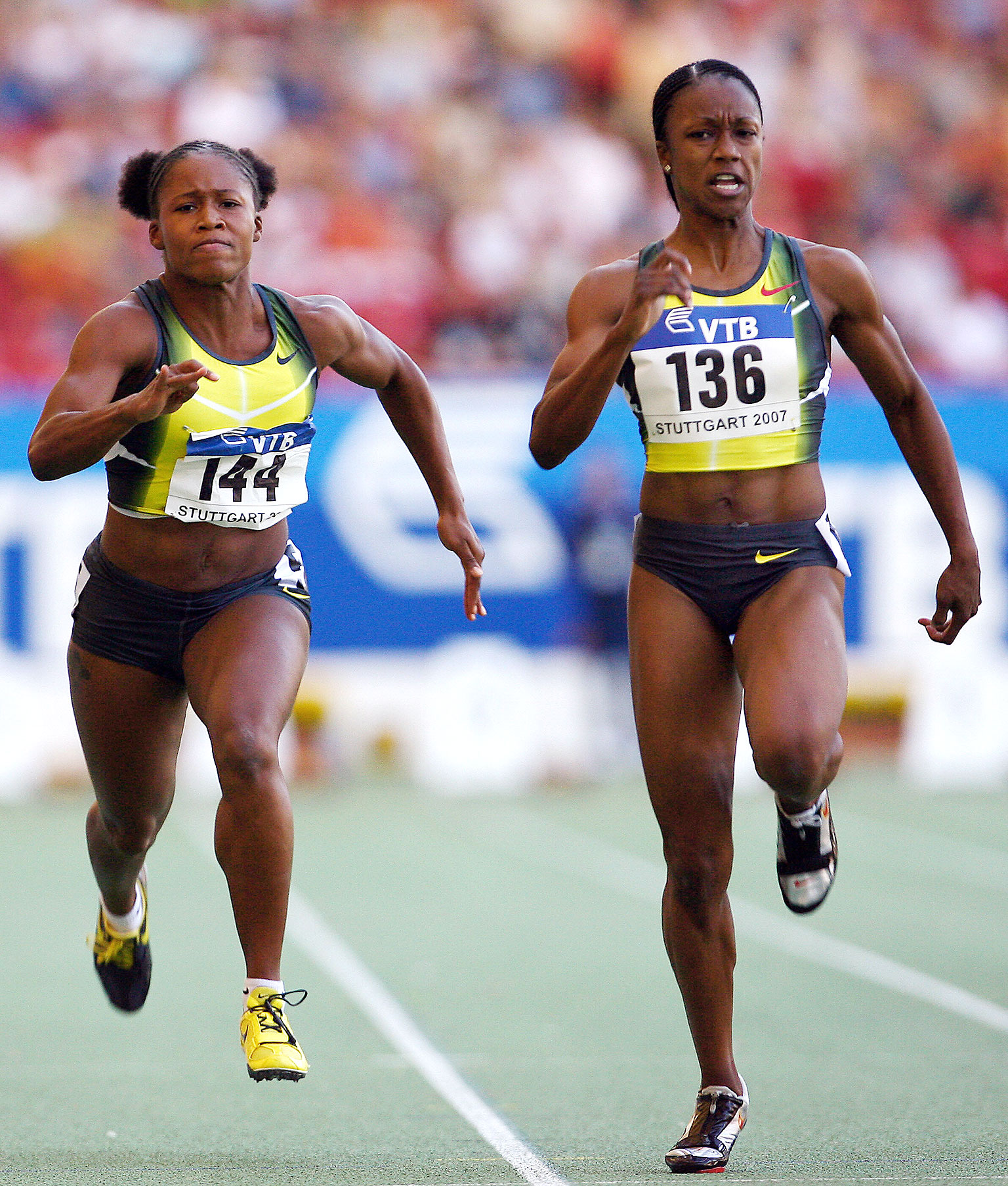 Carmelita Jeter, right, has made up for lost time in her career after being plagued by injuries from 2003 to 2005.