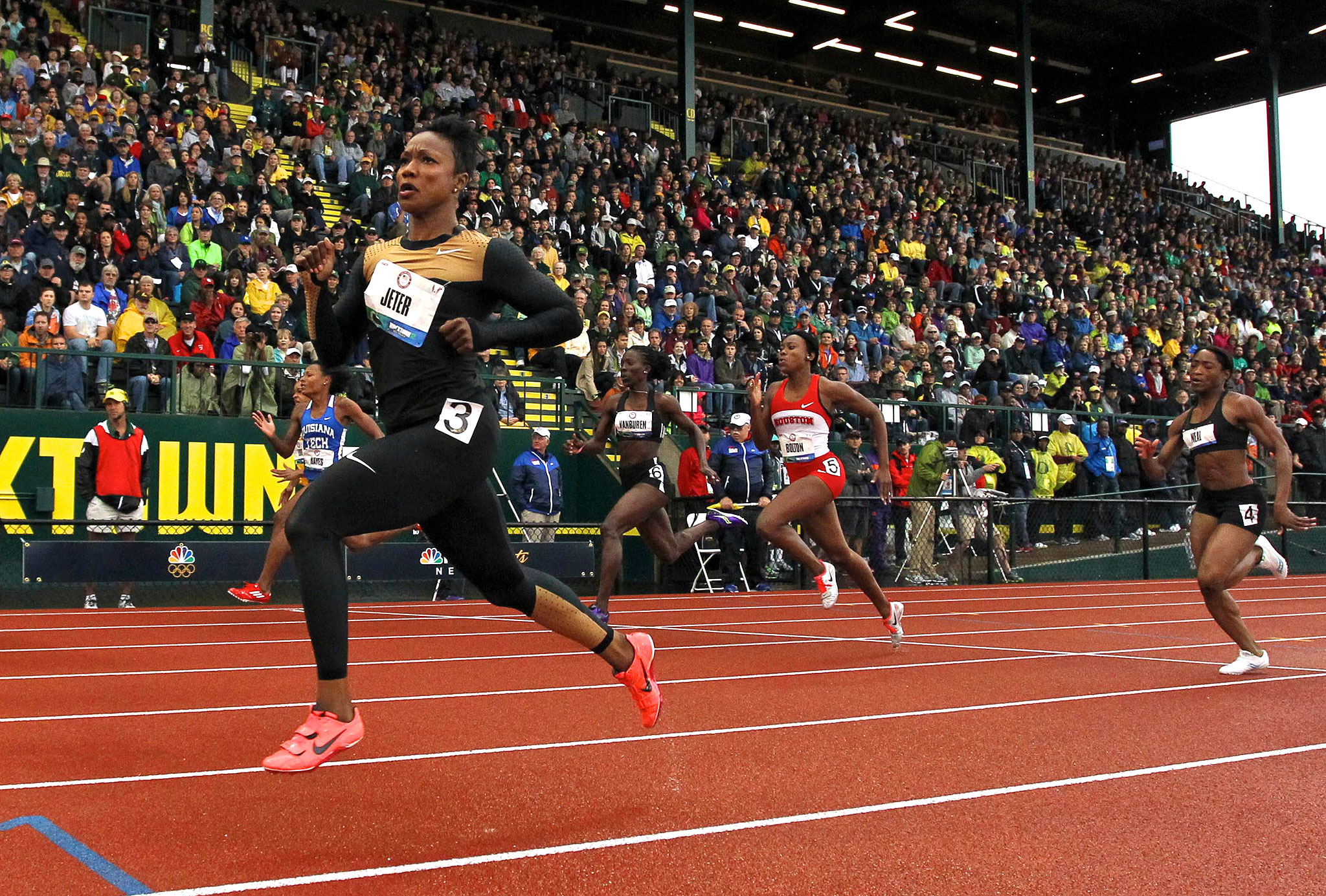 Carmelita Jeter qualified for the London Olympics in 2012 by finishing first in the 100 meters and second in the 200 meters at the U.S. Olympic trials.