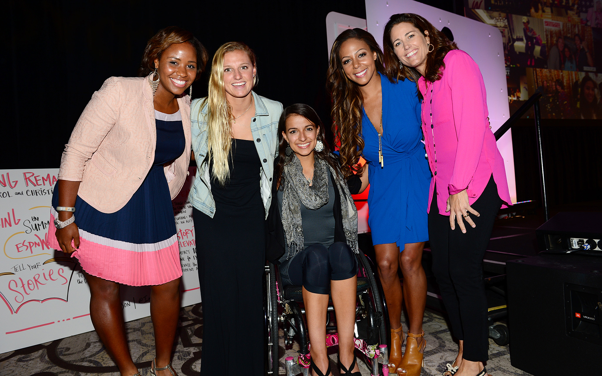 Moderator Julie Foudy, far right, after taking part in the Future panel with Taylor Townsend, Lakey Peterson, Victoria Arlen and Sydney Leroux.