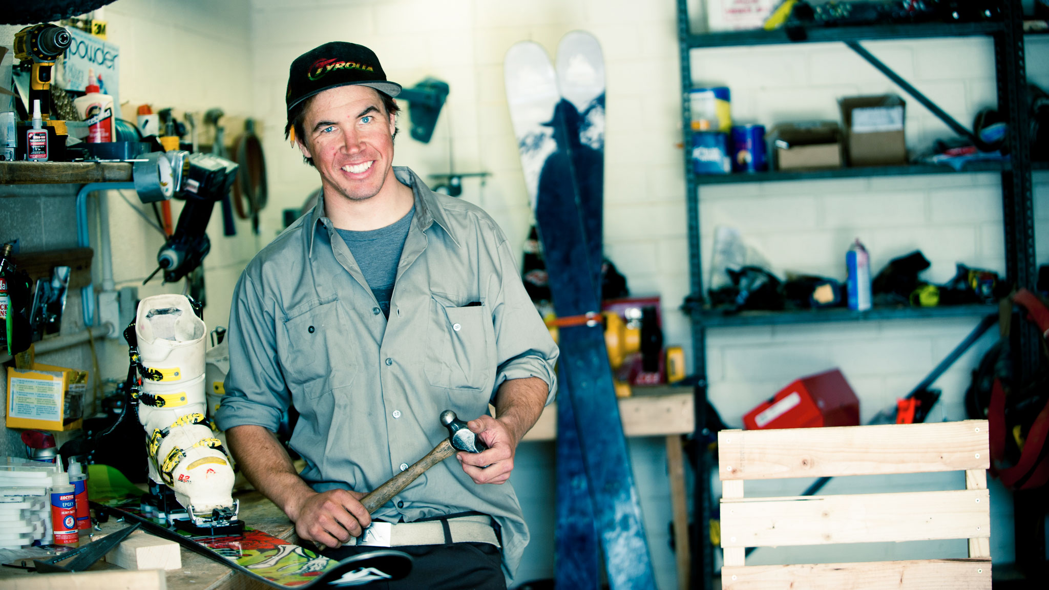 Binding innovator and pro skier Lars Chickering-Ayers in his former shop in Salt Lake City, Utah.
