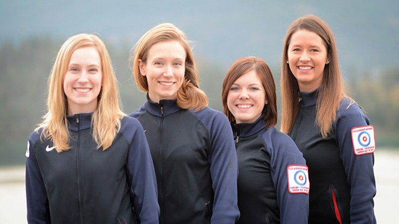 Cassie Potters curling team (from left: Potter, Jamie Haskell, Jackie Lemke, and Stephanie Sambor) is preparing for the U.S. Olympic trials in mid-November.