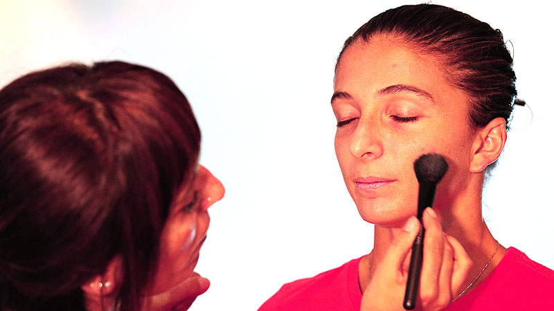 Sara Errani, who will be shooting for her second singles title of the season, even looks focused in the makeup chair at the style suite before attending the draw ceremony.