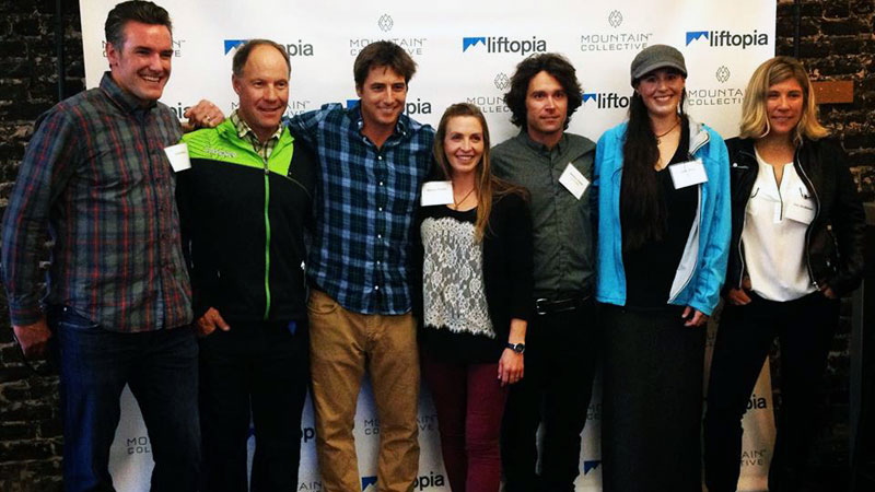 Chris Klug, Tommy Moe, Jonny Moseley, Kimmy Fasani, Jeremy Jones, Jenn Berg and Jess McMillan at the Liftopia headquarters in San Francisco.