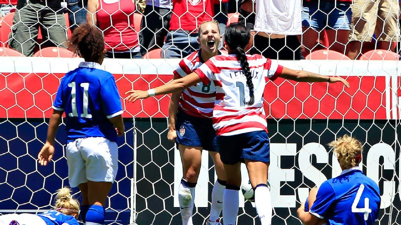 Amy Rodriguez's goal in the 85th minute helped carry the USWNT to a 2-1 win over Canada at Rio Tinto Stadium in Sandy, Utah, in the team's final match before the 2012 Olympics.