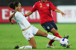 Cox, then Lopez before marriage, made it difficult for Englands attack during the World Cup 2007 quarterfinals match in Beijing.