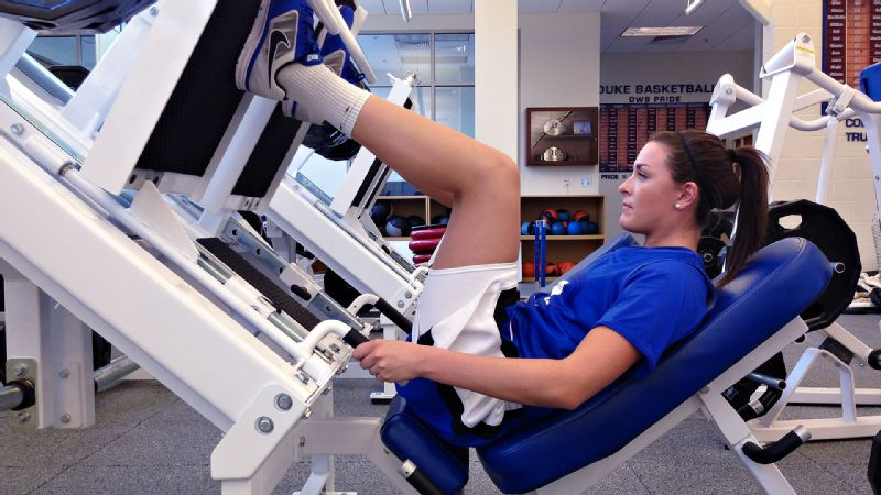In rehab, Becca Greenwell is focusing on strengthening her quads, hamstrings, calves and hips so she can progress to running.