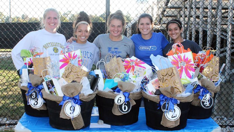 After getting spoiled a bit, Kentuckys seniors -- from left, Kayla King, Caitlin Landis, Danielle Krohn, Ashley VanLandingham and Kacie Kumar -- took care of business in a 3-1 win over LSU.