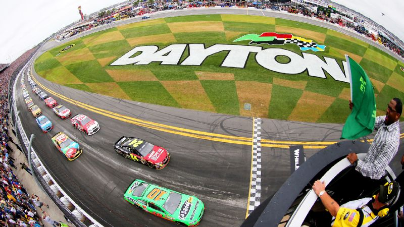 Danica Sue Patrick of Roscoe, Ill., leads the field to the start of the 55th Daytona 500 on Feb. 24 at Daytona International Speedway.
