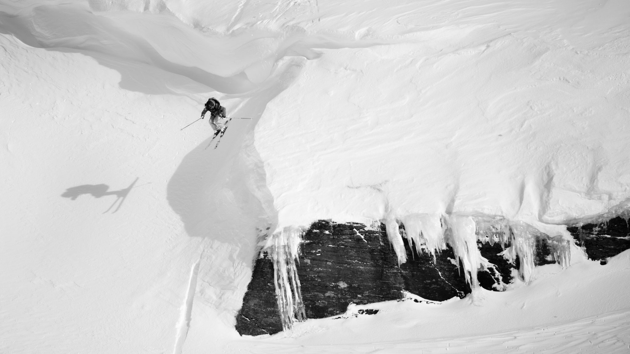Jackie Paaso competing in a Freeride World Tour contest in Rldal, Norway.