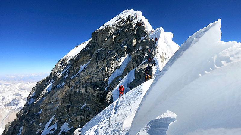 Hundreds of commercially guided climbers -- some paying up to 75,000 for the experience -- tackle Everest's slopes each spring.