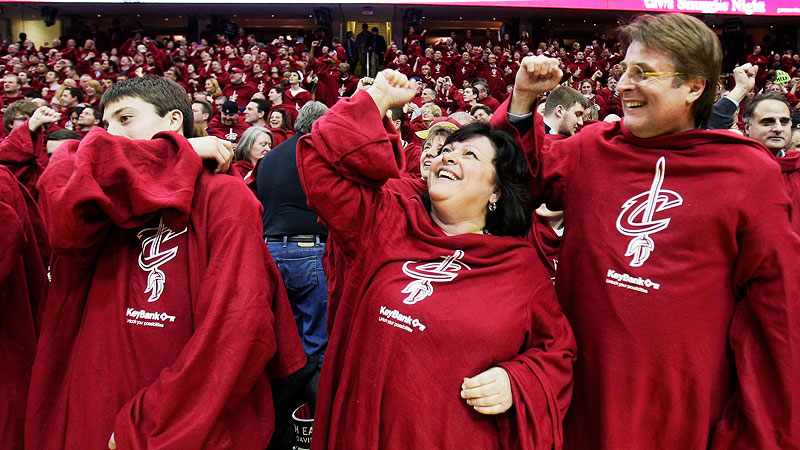 In 2010, the Cavs attempted to break the (actual existent) record of most fleece blankets of one color in one place and gave all fans in the arena their very-own maroon Snuggie. The gimmick paid off and they set a new record mark with 20,562. This is a true story. And now you understand why LeBron James left.