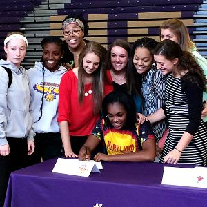 Kiara Leslie, the No. 52 prospect in the espnW HoopGurlz Top 100,  signed a national letter of intent to Maryland. From the fans, to the people associated with Maryland and my basketball family, I can truly say I have found the perfect place, she said. i(Photo Courtesy Kiara Leslie)/i