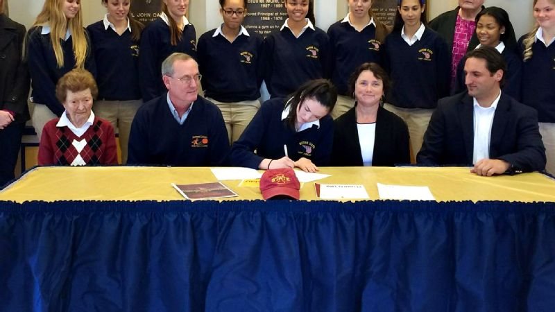 Emily Durr, a 5-foot-11 guard and the No. 68 recruit in the nation, drew a crowd when she signed her national letter of intent to Iowa State. i(Photo Courtesy Iowa State athletics)/i