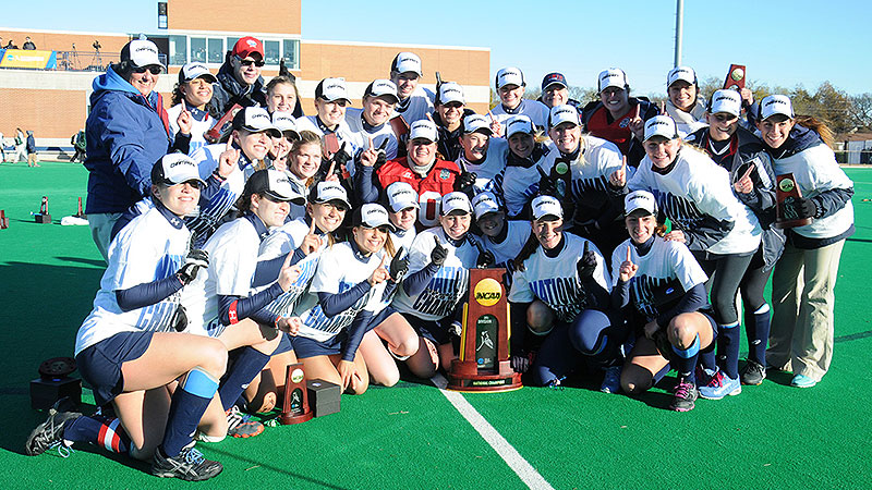 Shippensburg players posed for a shot with their Division II championship trophy after Sunday's 2-1 overtime victory against LIU Post.